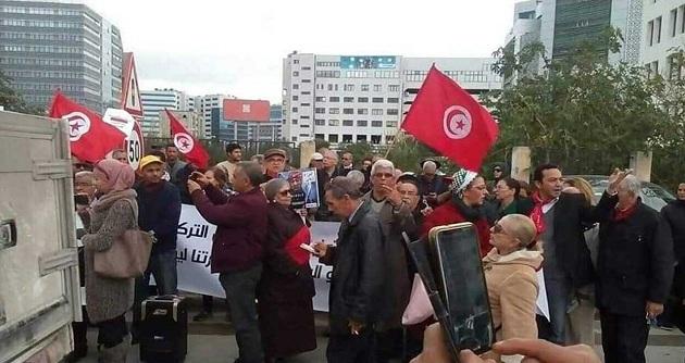 تنديدا بزيارة أردوغان.. وقفة احتجاجيّة أمام سفارة تركيا بتونس
